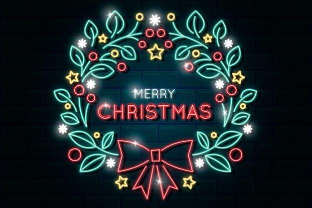 Neon merry christmas