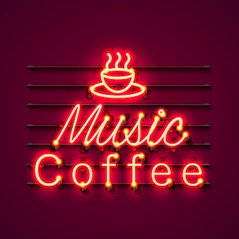Neon music coffee text icon signboard on the red background.