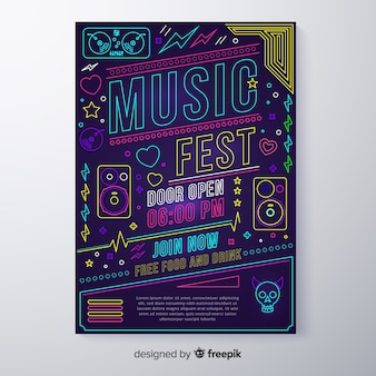 Neon music festival poster template