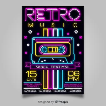 Modello di manifesto del festival di musica al neon