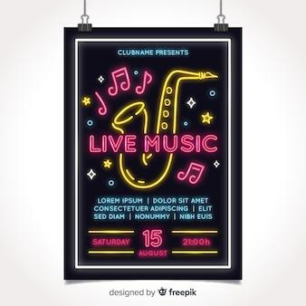 Neon music festival poster template