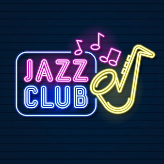 Neon music jazz neon logo on a brick wall