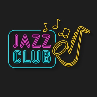 Neon music jazz neon logo on dark