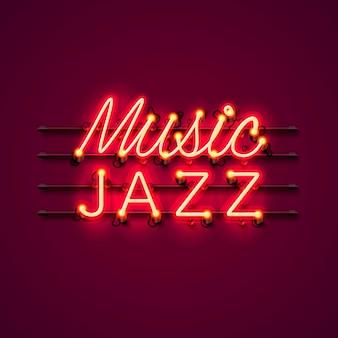 Вывеска джаза неоновой музыки на красном фоне.