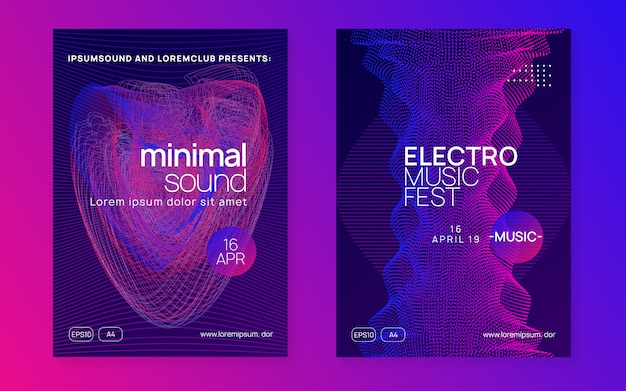 Neon music poster. electro dance dj. electronic sound fest. club event flyer. techno trance party.