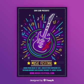 Neon music poster template with electric guitar