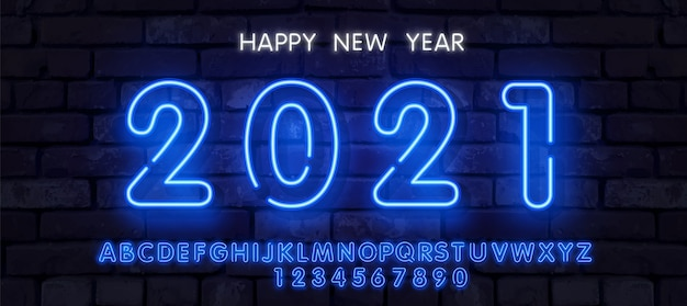 Neon new year 2021 greeting card - neon blue letters 2021 neon sign, bright signboard, light banner. logo neon