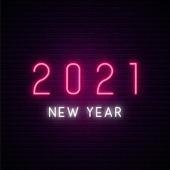 Neon new year signboard