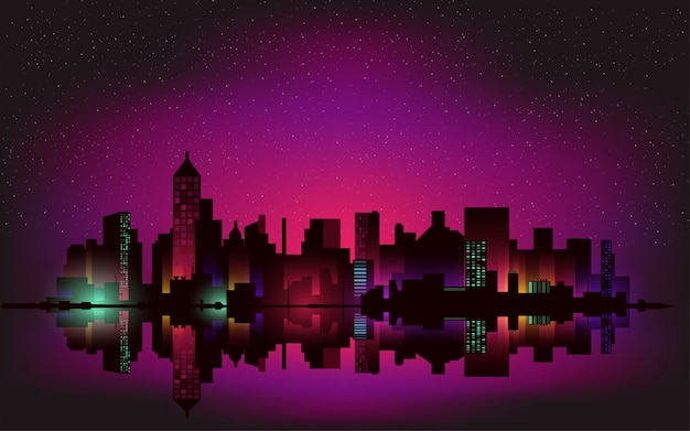 Neon night city landscape background