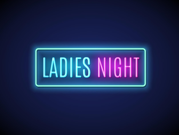 Neon night lady fashion invitation sign party flyer. pink bar or club for girl disco party typography.