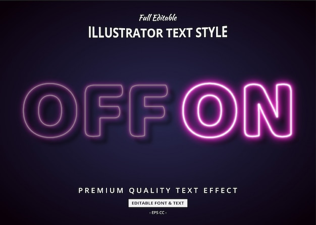 Neon off on 3d text style effect