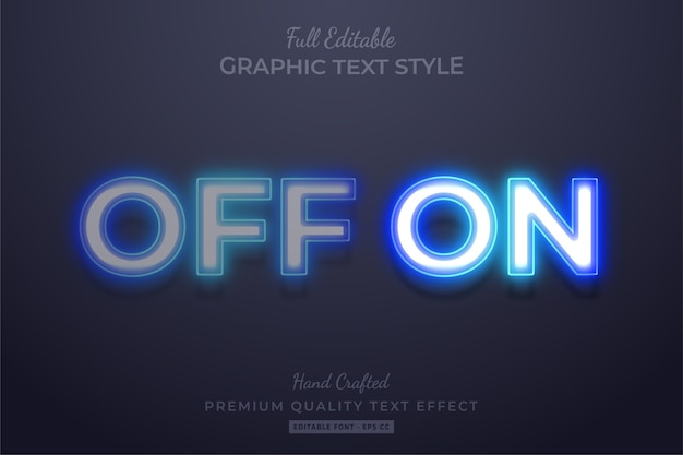 Neon off on editable 3d text style effect premium