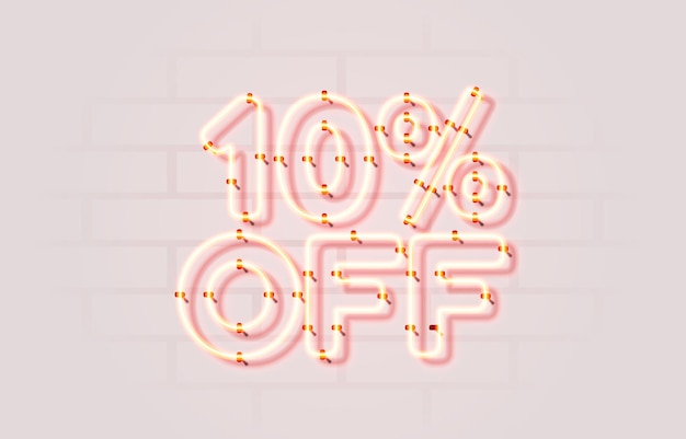 Neon  off sale banner sign board promotion vector