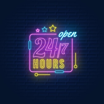 Neon open 24/7 hours sign