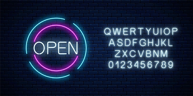 Neon open 24 hours and 7 days in circle frames sign with alphabet on a brick wall background. round the clock working bar or night club signboard.