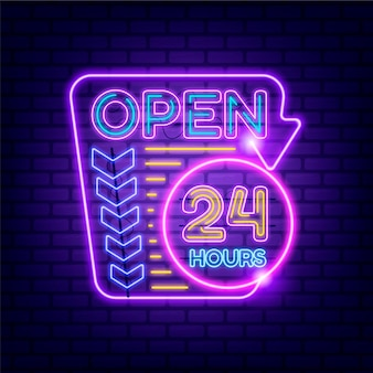 Neon open 24 hours sign glowing