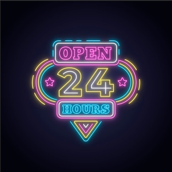 Neon 'open 24 hours' sign