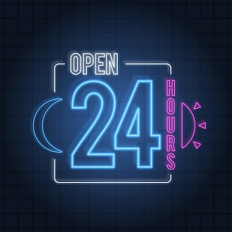 Neon open 24 hours sign