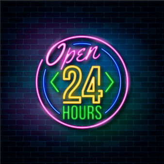 Neon open 24 hours sign Free Vector
