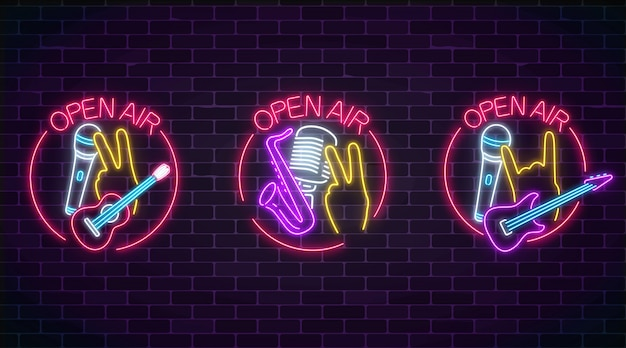 Neon open air signs collection with microphones, guitars and saxophone in round frame
