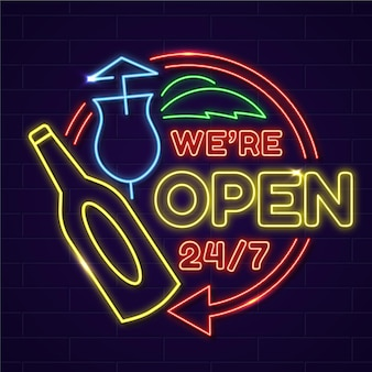 Insegna al neon per pub aperto