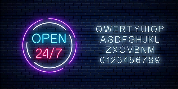 Neon open twenty four hours seven days a week sign in circle shape with alphabet on a brick wall background. round the clock working bar or night club signboard