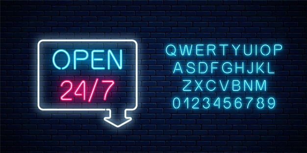 Neon open twenty four hours seven days a week sign in geometric shape with arrow and alphabet on a brick wall background. round the clock working bar or night club signboard with lettering
