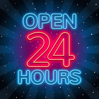 Neon 'open twenty four hours' sign