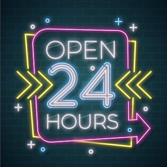 Neon open twenty-four hours sign