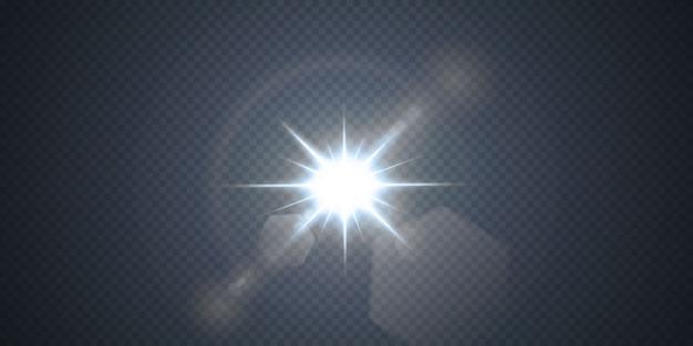 네온 또는 블루 라이트 글로우 플레어 별 효과.