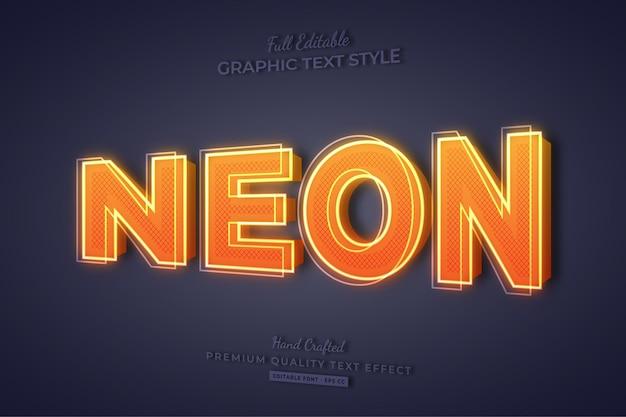 Neon orange 3d editable text effect font style