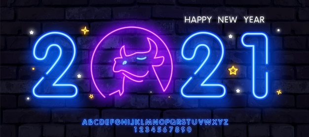 Neon ox new year 2021 greeting card - neon blue letters 2021 neon sign, bright signboard, light banner.