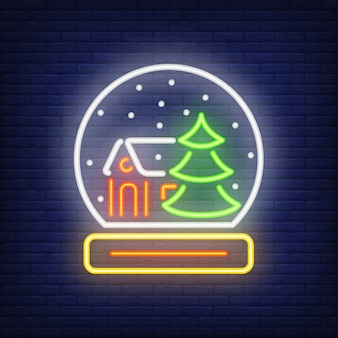 Neon paperweight shape. Festive element. Christmas concept for night bright advertisement