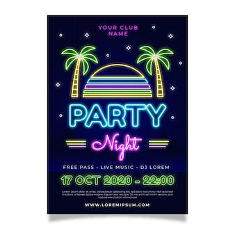 Manifesto della notte della festa al neon