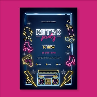Neon party poster design template