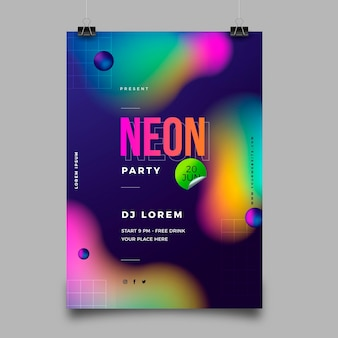 Modello di poster per feste al neon