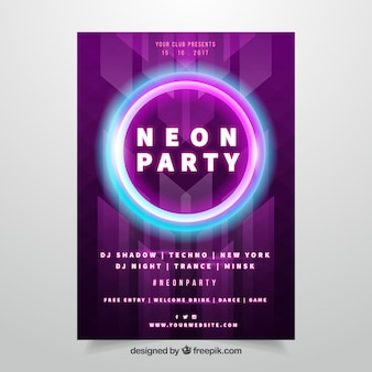 Neon party poster with colorful circle