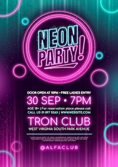 Manifesto della festa al neon