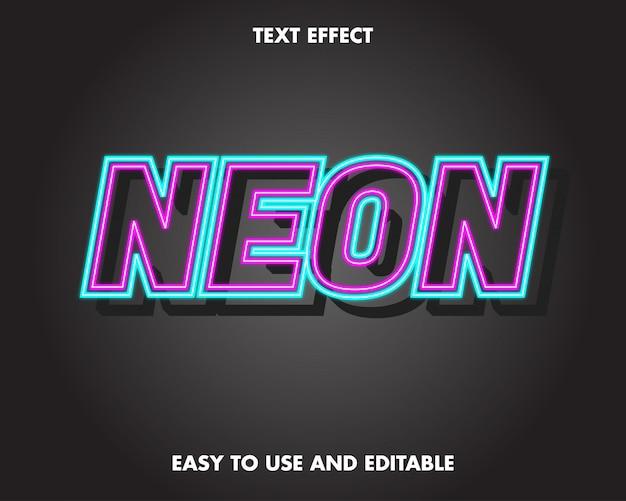 네온 핑크와 블루 텍스트 효과. 사용하기 쉽고 편집 가능합니다. 프리미엄
