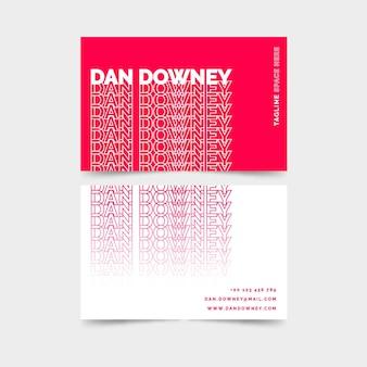 Неоновый розовый и белый шаблон визитной карточки