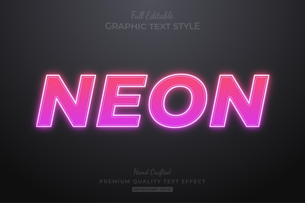 Neon pink editable text effect font style