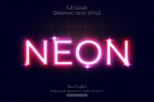 Neon pink editable text effect