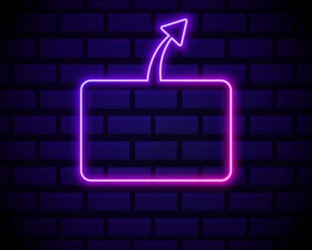 어두운 벽돌에 배너에 대 한 네온 핑크 그라데이션 빛나는 화살표 프레임. 레트로 네온 사인.