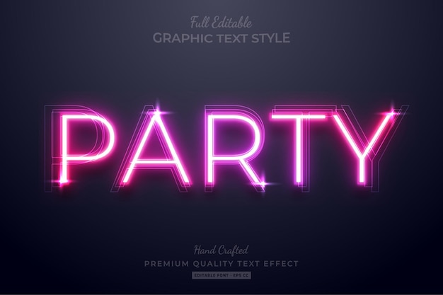 Neon pink party editable text effect font style