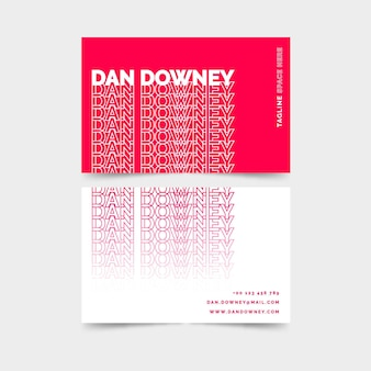 Neon pink and white business card template