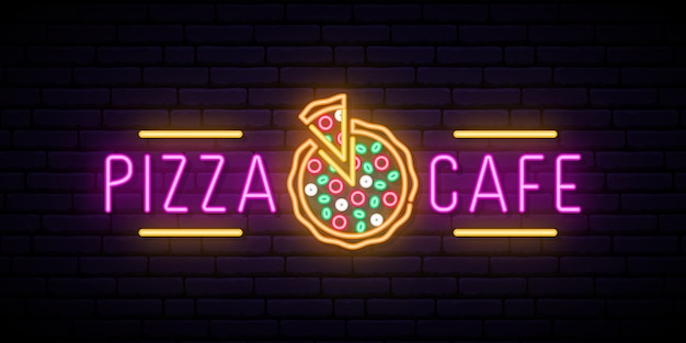 Neon pizza cafe sign