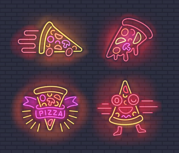 Neon pizza slices for pizzerias design on brick wall