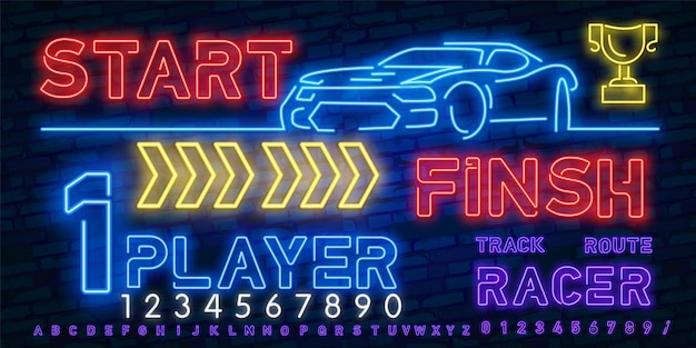 Neon play and win. e-sports neon light icons set. race