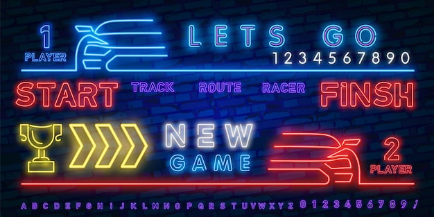 Neon play and win. race neon light icons set.