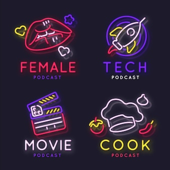 Neon podcast logo collection